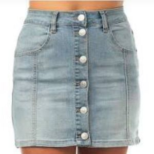 Almost famous denim button down skirt
